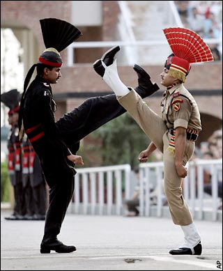 Lowering the flag ceremony in Wagah border point